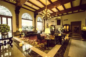 Lobby of Country Club Lima with luxury details