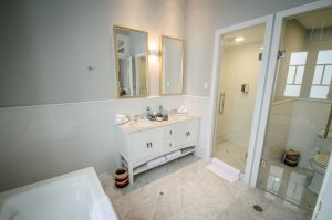 Bathroom with separate tub and shower