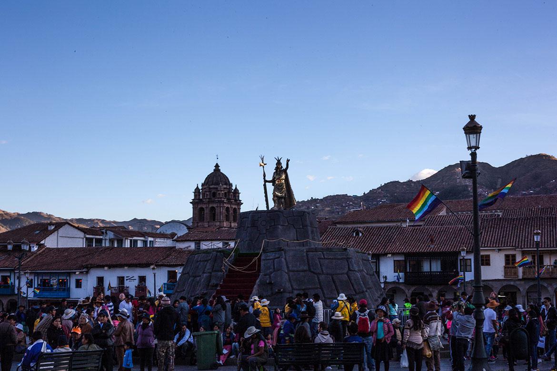Spectators gather on the Plaza de Armas to witness Inti Raymi