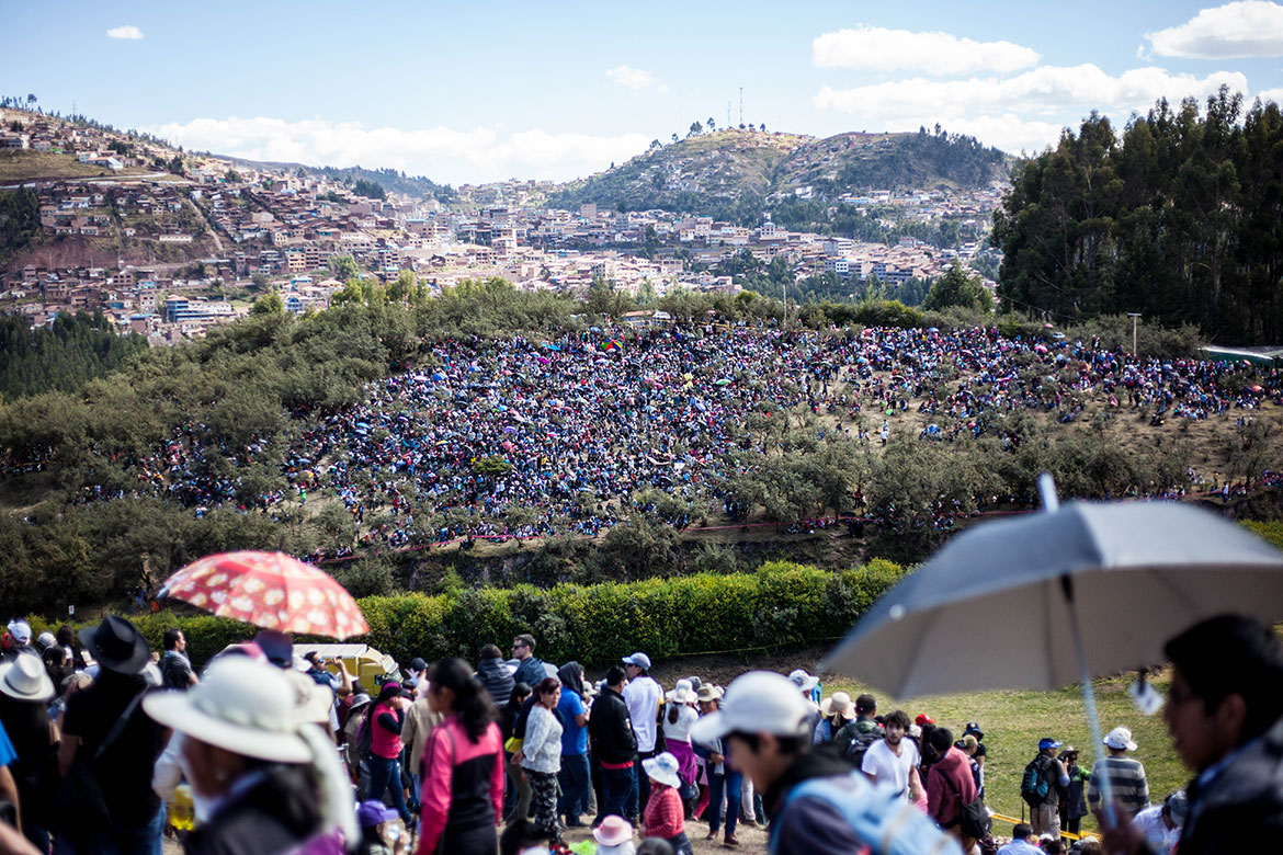 Thousands gather to celebrate Inti Raymi on a hillside in Cusco