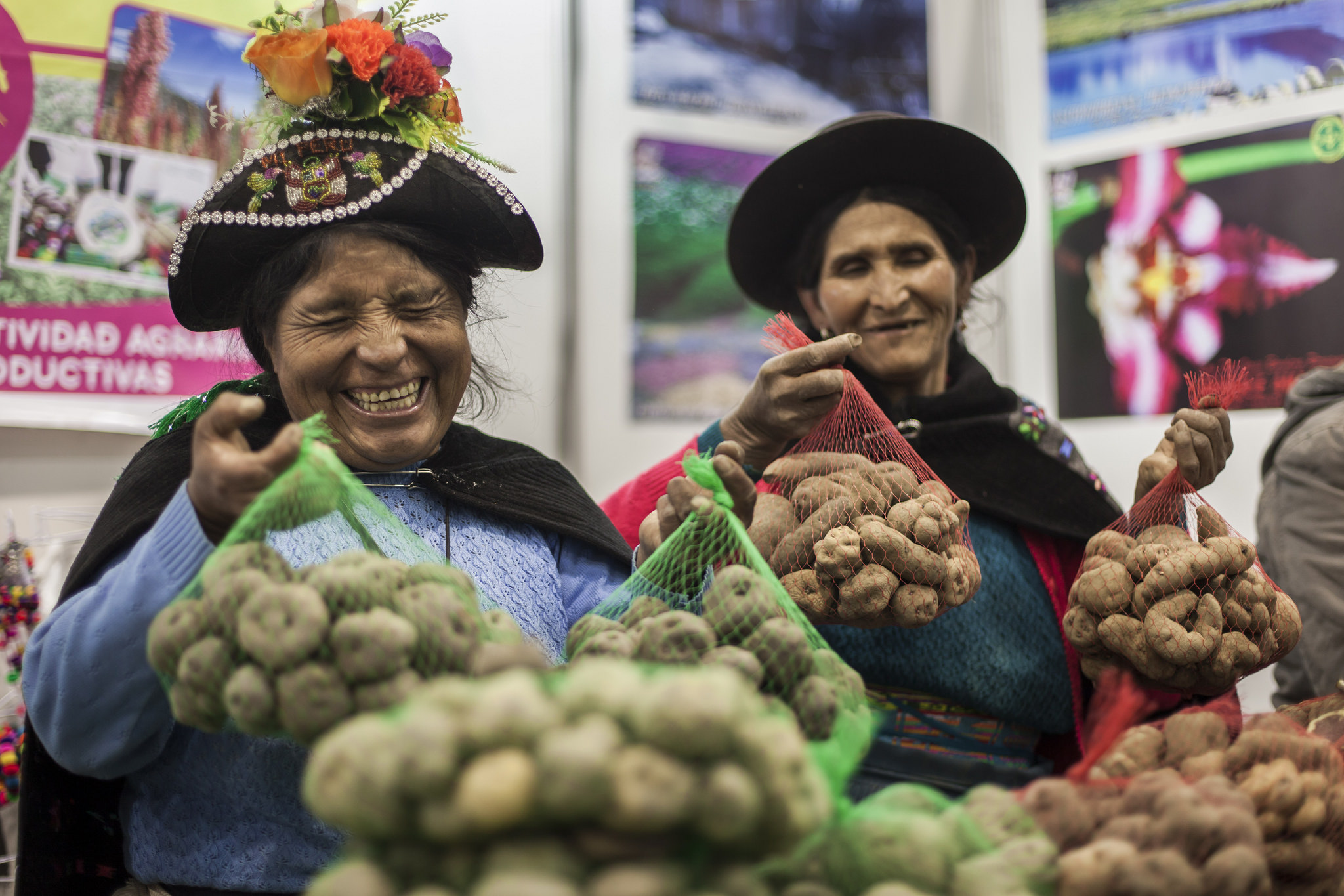 Women in traditional hats hold up bags of Andean potatoes