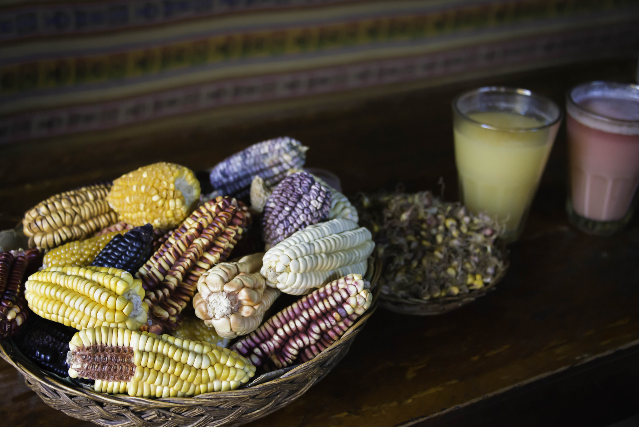 Different types of corn used to make chicha