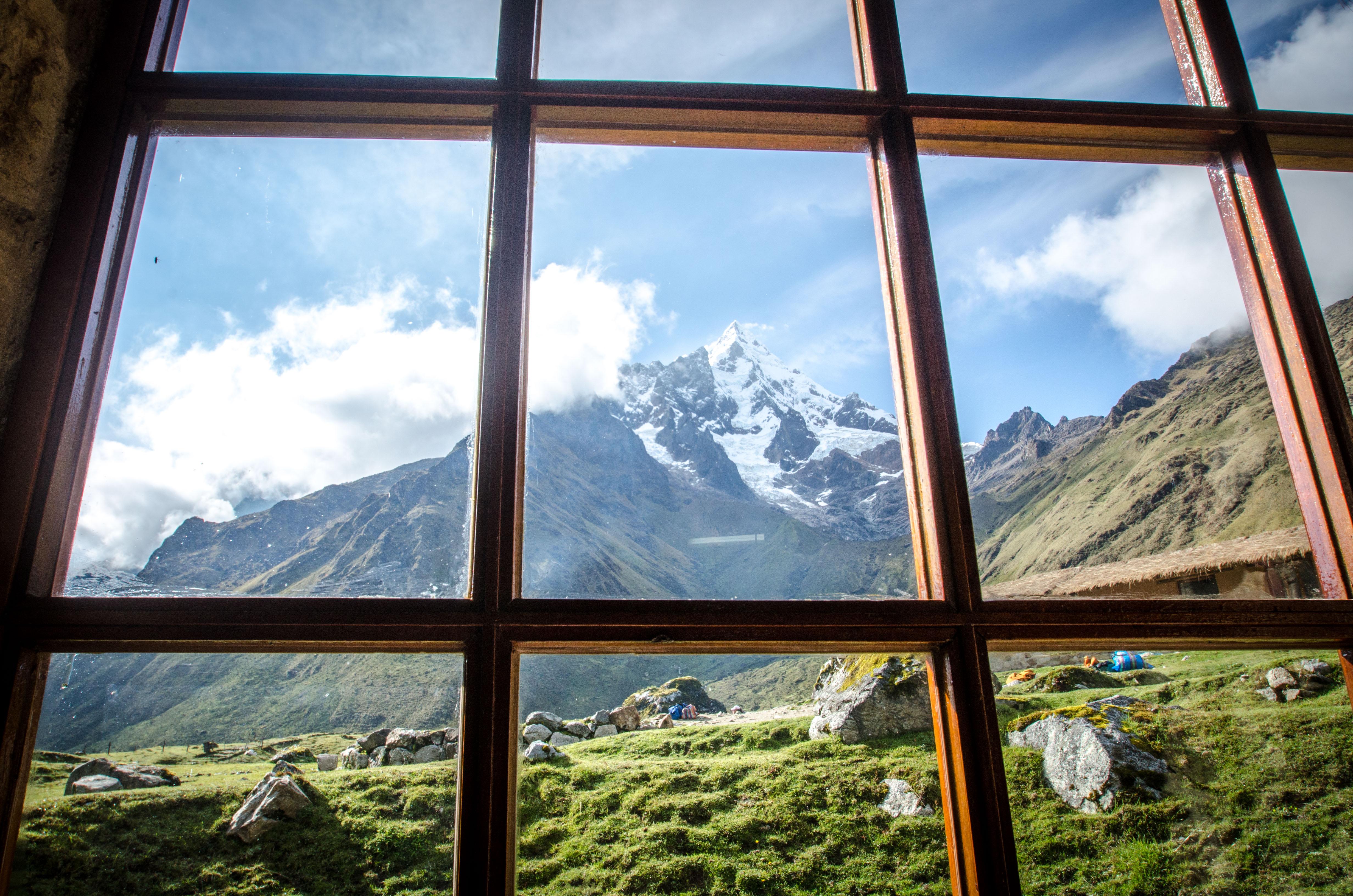 View of Salkantay lodge; alternative treks to Machu Picchu