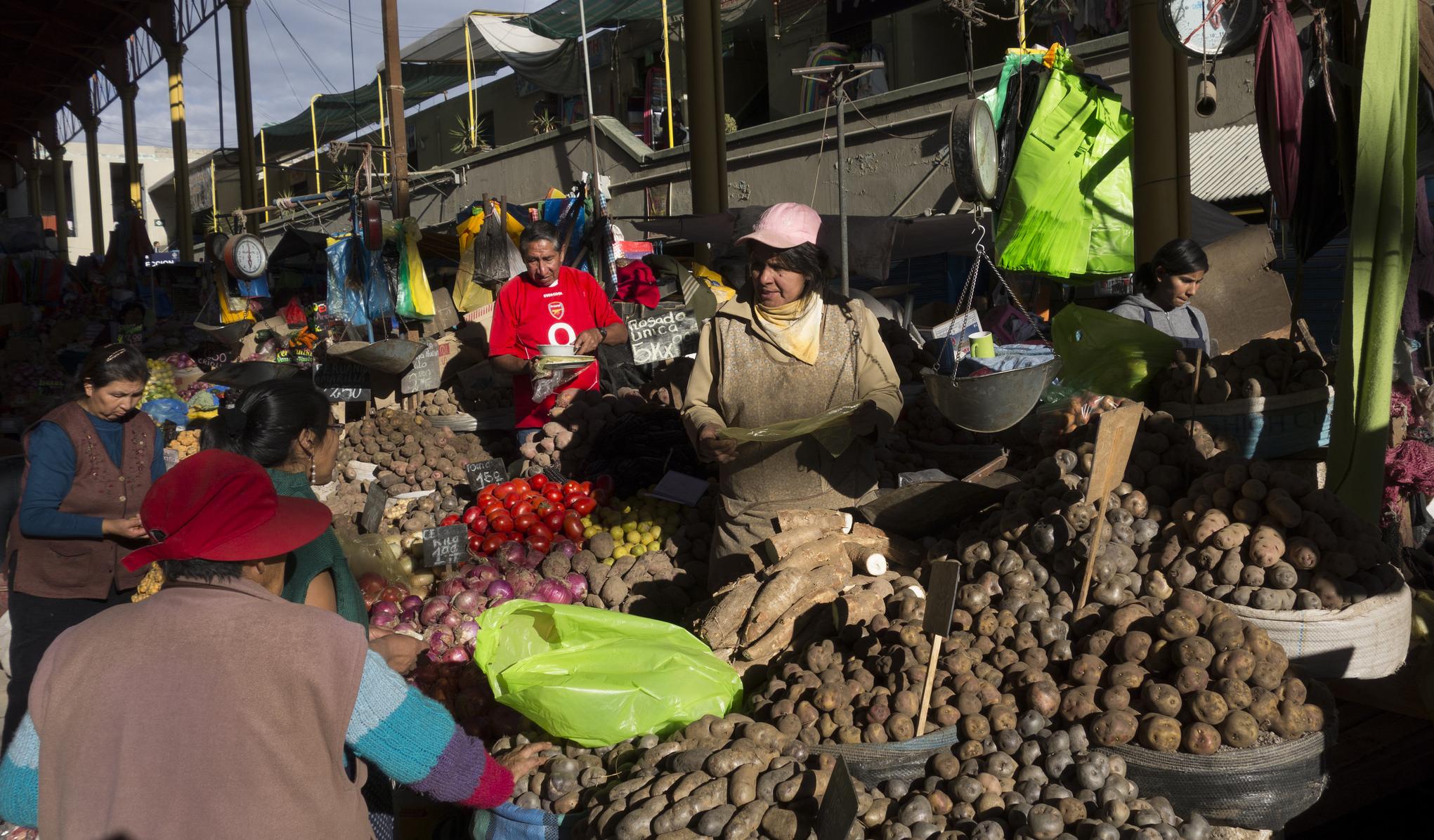 Potato vendors at San Camilo Market in Arequipa