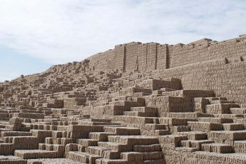 Adobe bricks leading up to the top of the Huaca Pucllana pyramid in Lima, Peru.