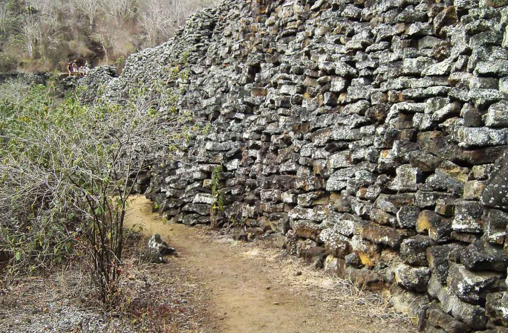 Crudely cut stones stacked on top of each other to form the Wall of Tears, or Muro de las Lágrimas in Spanish, on Isabela Island in the Galapagos.