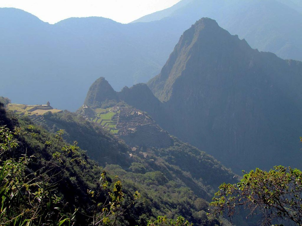 A view of Huayna Picchu and the main ruins taken halfway to the Sun Gate.