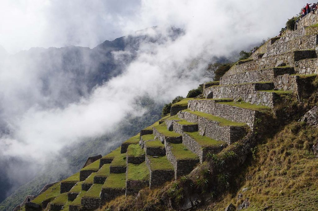 A view looking at the descending terraces in Machu Picchu. Each one is perfectly built beneath the other with stones and covered in grass.