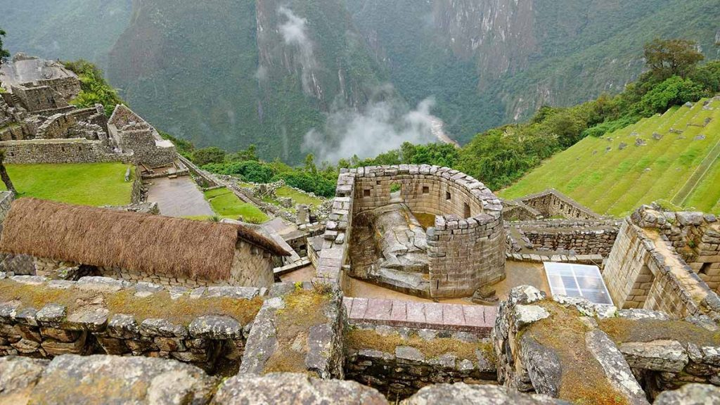 A view looking down on the Sun Temple in Machu Picchu. It is situated in the heart of the ruins.