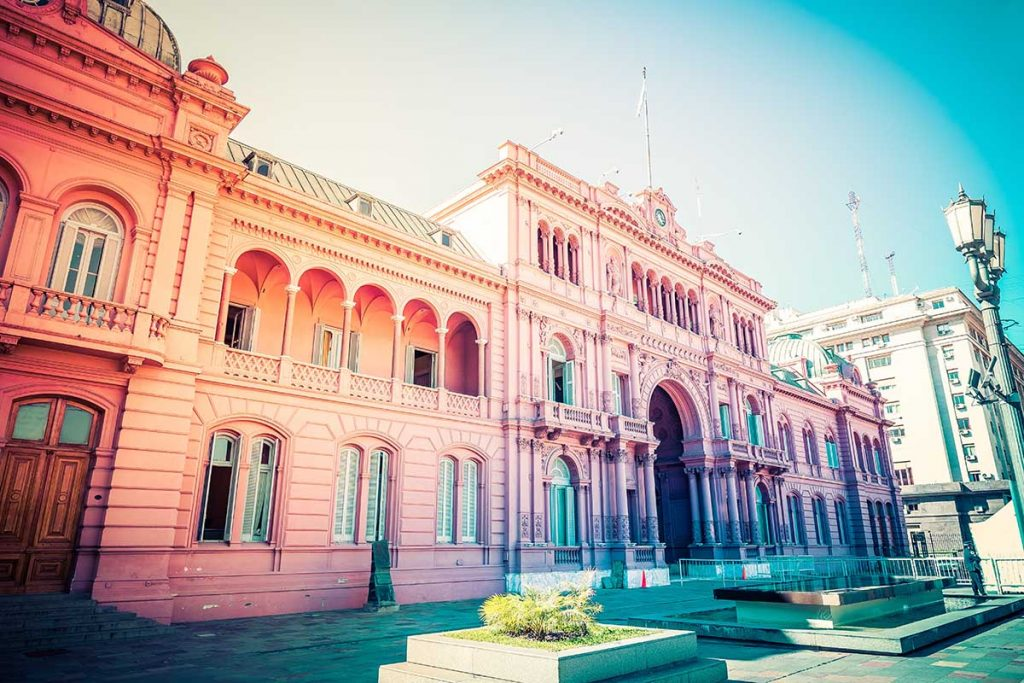 A colorfully-edited photo of intricate architecture in Buenos Aires, Argentina.