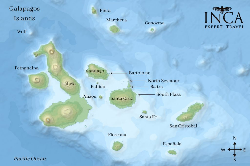 A map showing the positions of the Galapagos islands