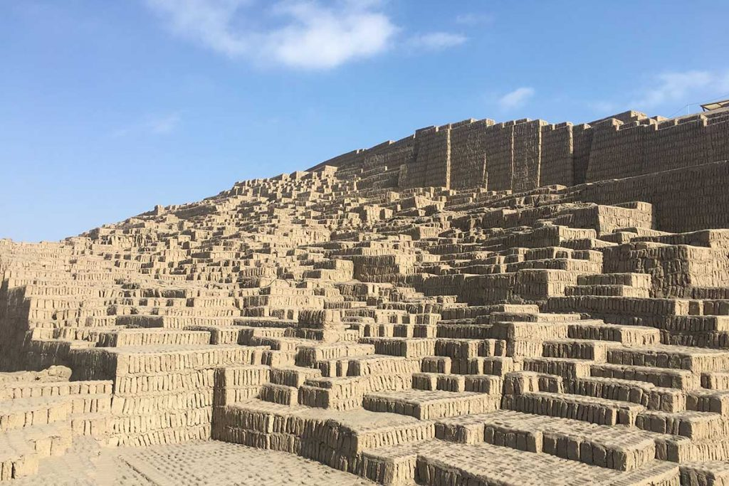 A view of the restored Huaca Pucllana ruins in the center of Lima. The ruins almost look like mismatched stairs taking you to the sky.