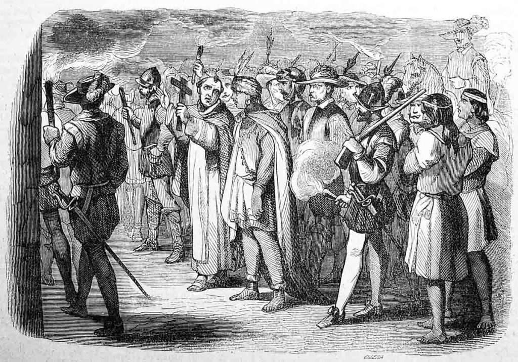 A black and white sketched illustration of Spanish conquistadors surrounding Inca emperor Atahualpa with one Spaniard holding a cross.