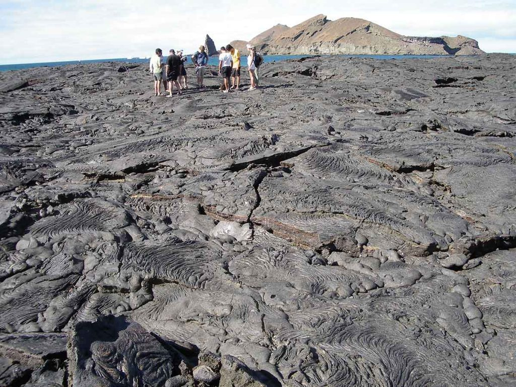Seven tourists stand on an undulating expanse of black lava rock that leads up to the ocean with a small island visible.